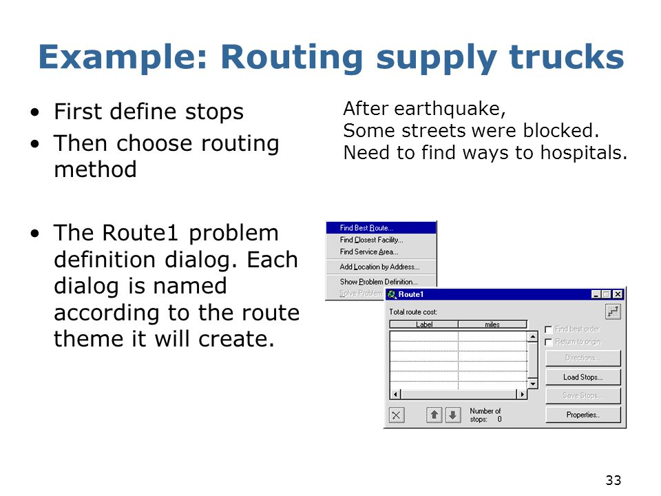 33 Example: Routing supply trucks First define stops Then choose routing method The Route1 problem definition dialog. Each dialog is named according t