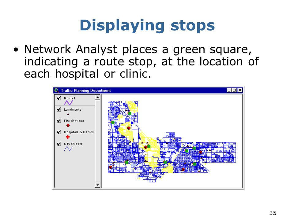 35 Displaying stops Network Analyst places a green square, indicating a route stop, at the location of each hospital or clinic.