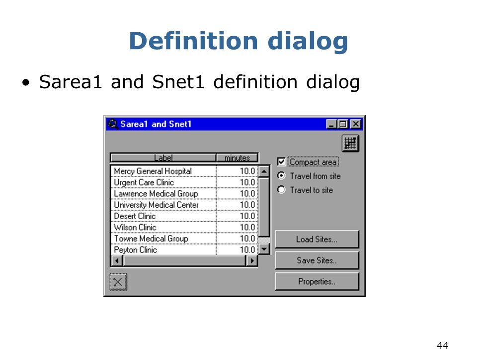 44 Definition dialog Sarea1 and Snet1 definition dialog
