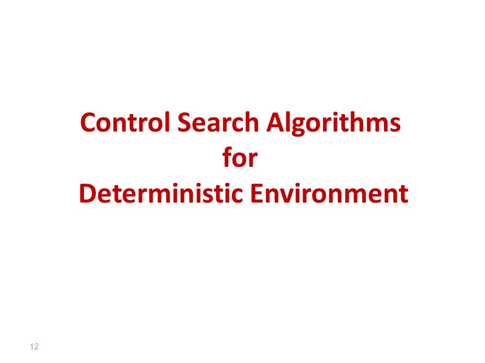 Control Search Algorithms for Deterministic Environment 12