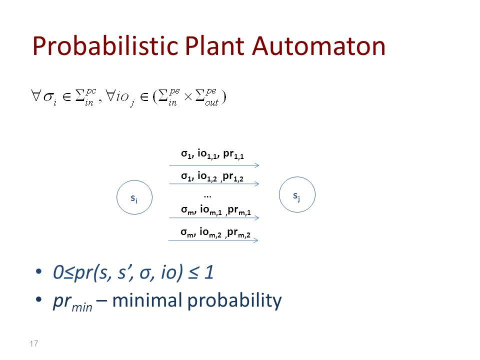 Probabilistic Plant Automaton 0pr(s, s, σ, io) 1 pr min – minimal probability sisi sjsj 17 σ 1, io 1,1, pr 1,1 σ 1, io 1,2, pr 1,2 … σ m, io m,1, pr m