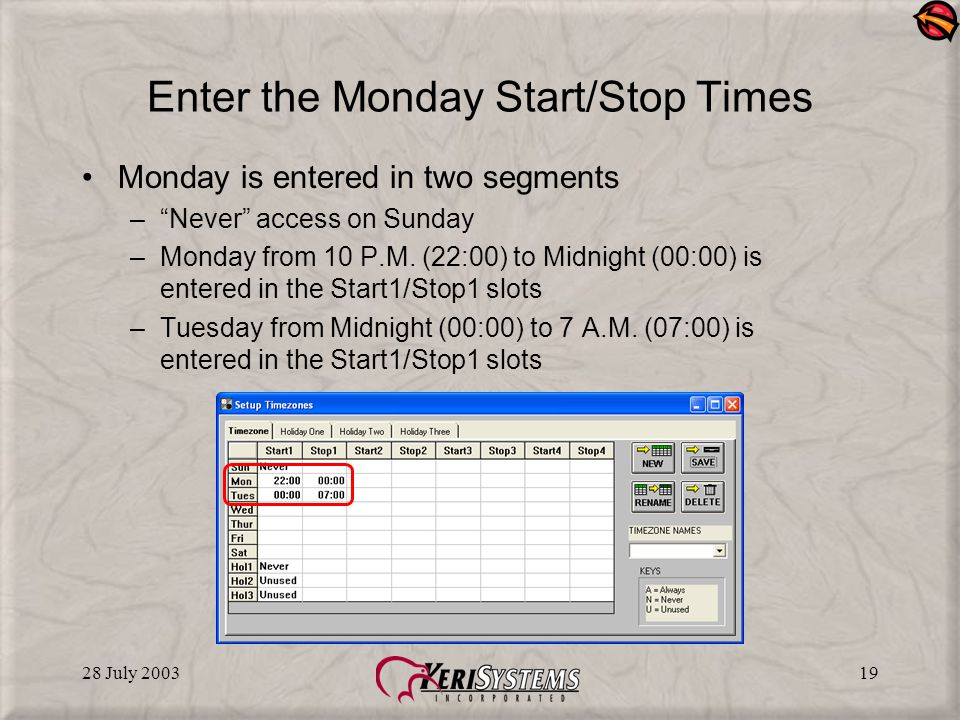28 July 200319 Enter the Monday Start/Stop Times Monday is entered in two segments –Never access on Sunday –Monday from 10 P.M.
