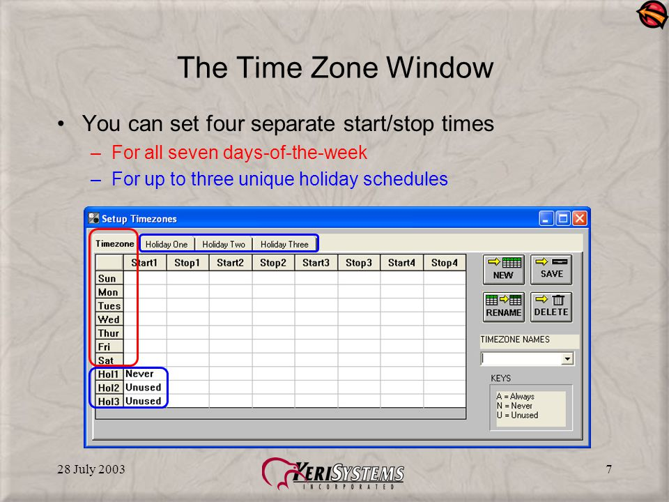 28 July 20038 Always Time Zone Always - Always allows access or action