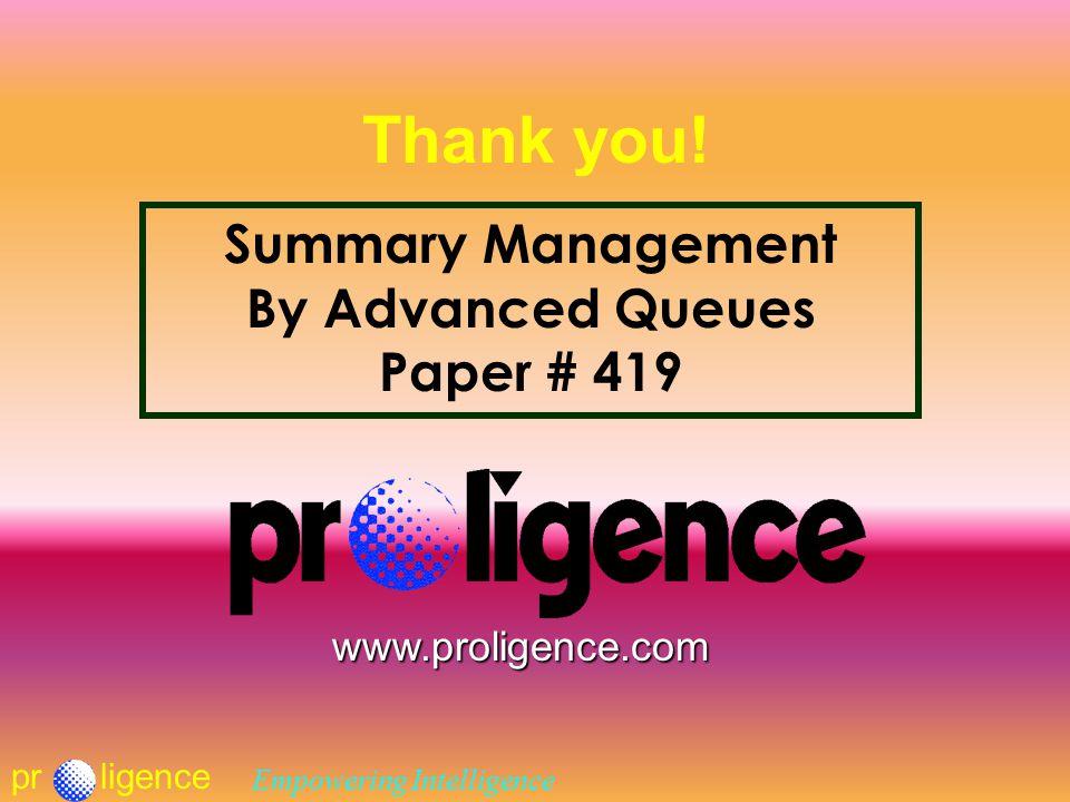 prligence Empowering Intelligence Thank you.
