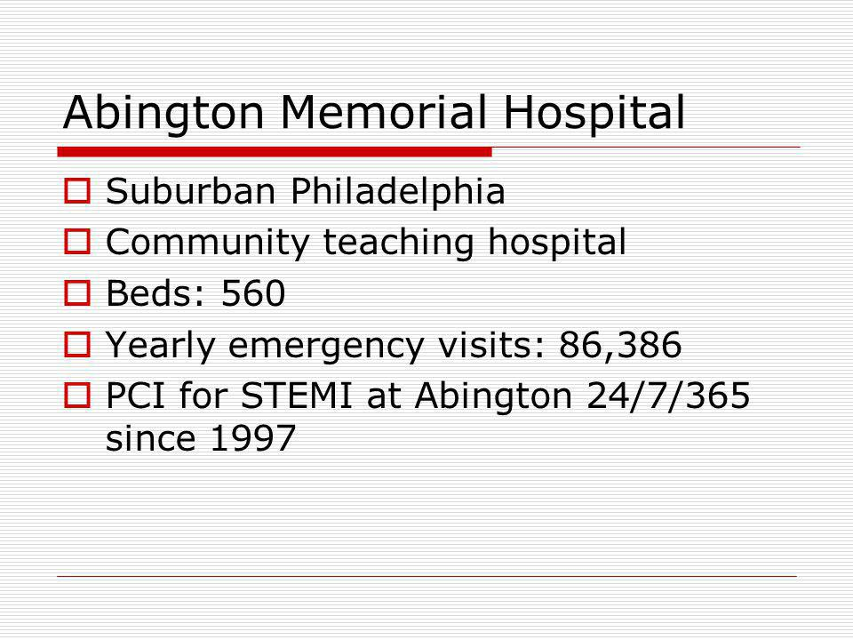 Suburban Philadelphia Community teaching hospital Beds: 560 Yearly emergency visits: 86,386 PCI for STEMI at Abington 24/7/365 since 1997