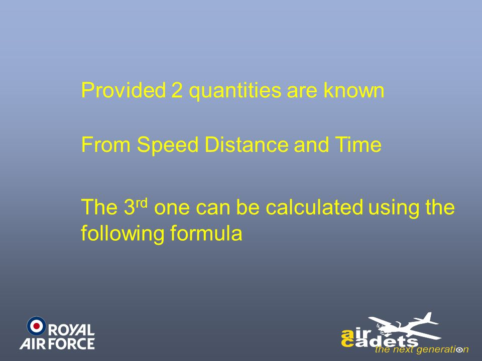 Provided 2 quantities are known From Speed Distance and Time The 3 rd one can be calculated using the following formula