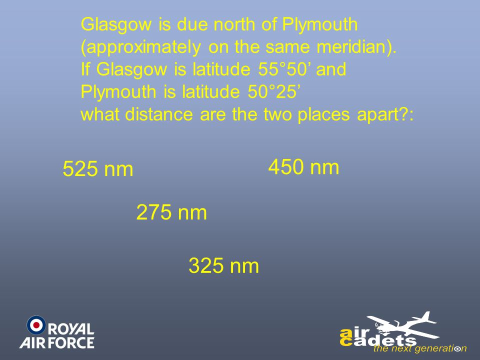 Glasgow is due north of Plymouth (approximately on the same meridian). If Glasgow is latitude 55°50 and Plymouth is latitude 50°25 what distance are t