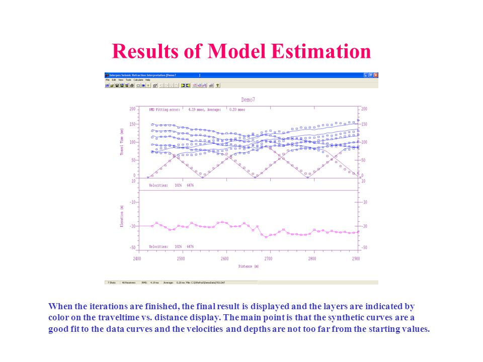 Results of Model Estimation When the iterations are finished, the final result is displayed and the layers are indicated by color on the traveltime vs