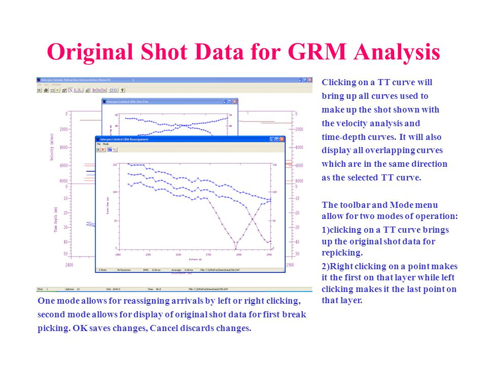 Original Shot Data for GRM Analysis Clicking on a TT curve will bring up all curves used to make up the shot shown with the velocity analysis and time