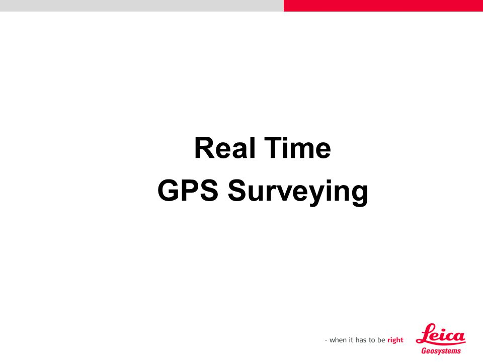 Real Time GPS Surveying