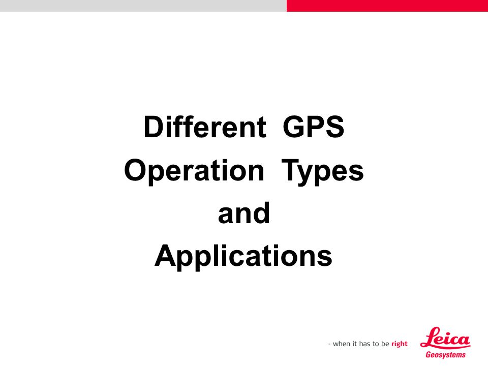 Different GPS Operation Types and Applications