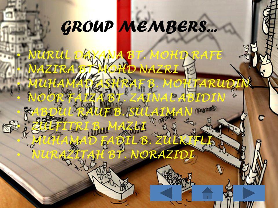 GROUP MEMBERS... NURUL DAYANA BT. MOHD RAFE NAZIRA BT MOHD NAZRI MUHAMAD ASHRAF B.