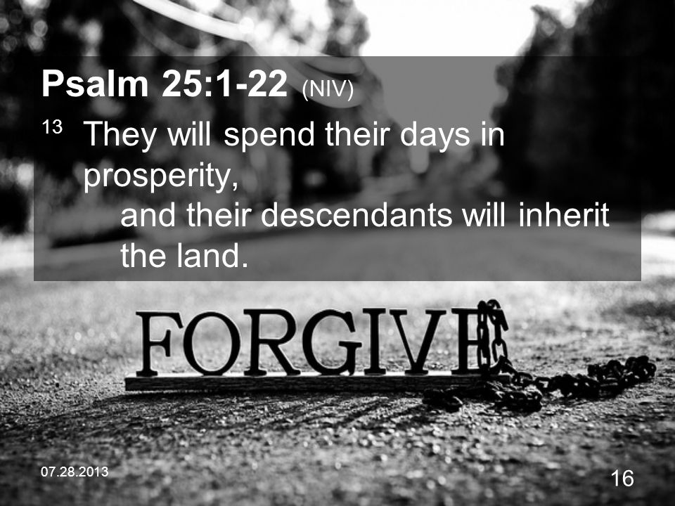 07.28.2013 16 Psalm 25:1-22 (NIV) 13 They will spend their days in prosperity, and their descendants will inherit the land.