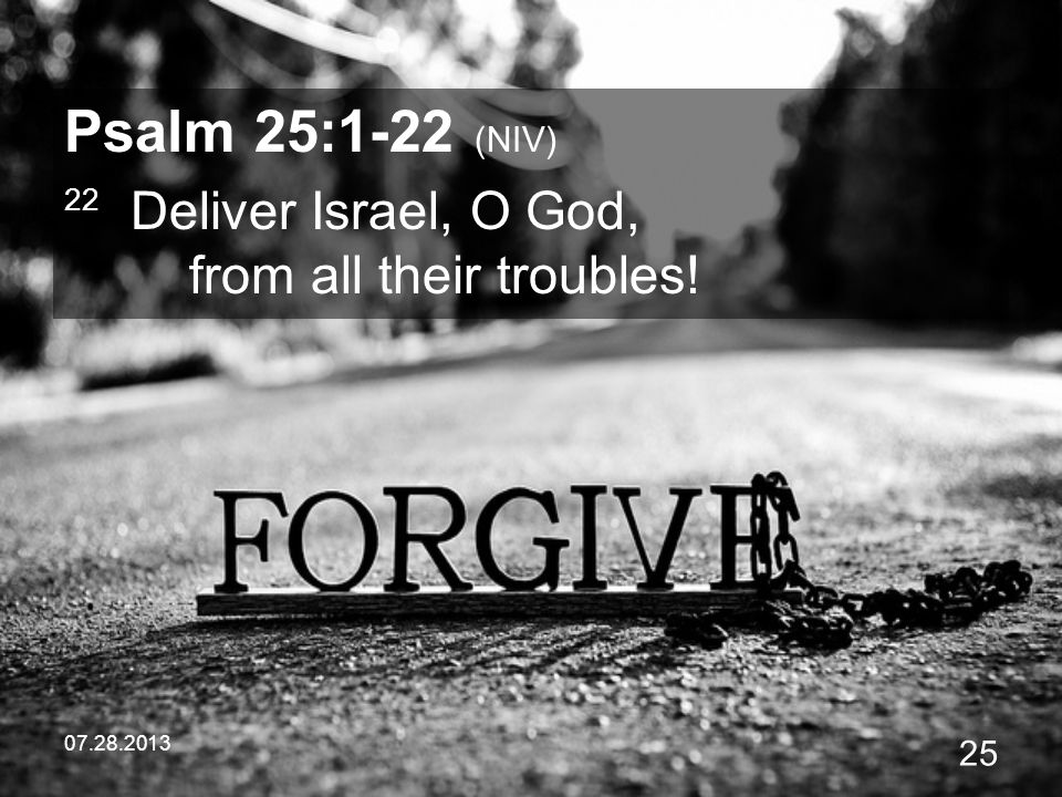07.28.2013 25 Psalm 25:1-22 (NIV) 22 Deliver Israel, O God, from all their troubles!