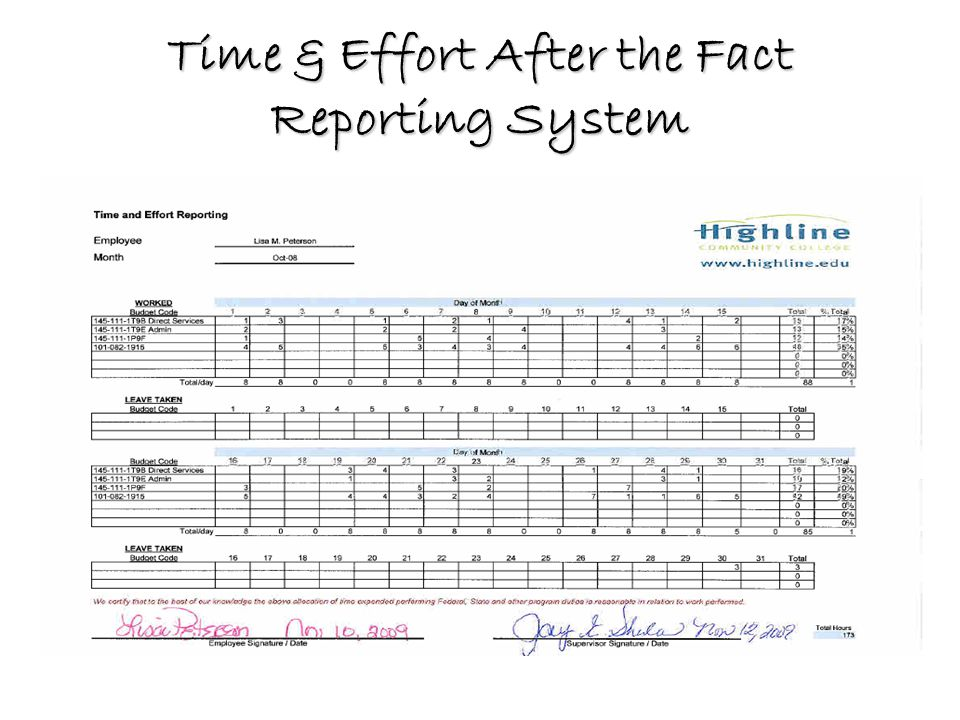 Time & Effort After the Fact Reporting System