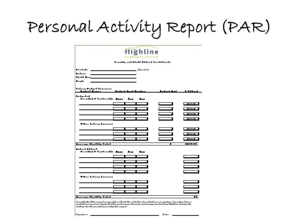 Personal Activity Report (PAR)
