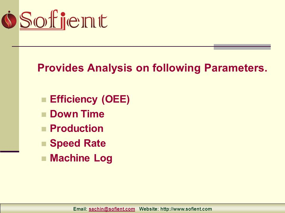 Provides Analysis on following Parameters.