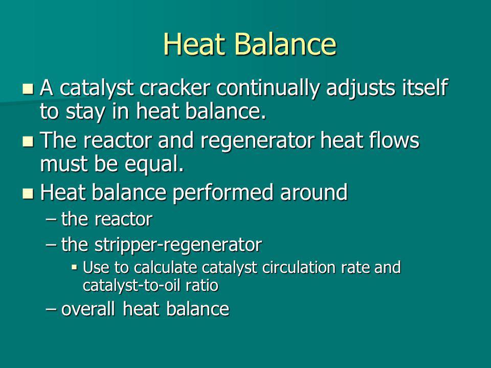 Heat Balance A catalyst cracker continually adjusts itself to stay in heat balance. A catalyst cracker continually adjusts itself to stay in heat bala