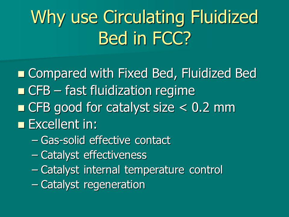 Operating Characteristics Particle Diameter = 150 m Particle Diameter = 150 m Geldart Classification = A Geldart Classification = A Temperature = 650 0 C Temperature = 650 0 C Pressure = 100 kPa Pressure = 100 kPa Superficial gas velocity = 10 m/s Superficial gas velocity = 10 m/s Bed depth = 0.85 m Bed depth = 0.85 m Fresh feed flow rate = 300,000 kg/hr Fresh feed flow rate = 300,000 kg/hr Catalyst to oil ratio = 4.8 Catalyst to oil ratio = 4.8