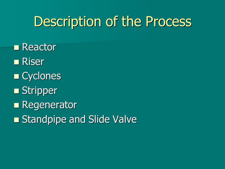 Pressure Balance Results In spent catalyst standpipe: In spent catalyst standpipe: –Pressure buildup = 27 kPa (4 psi) –Catalyst density = 658 kg/m 3 –Optimum pressure to circulate more catalyst In regenerated catalyst standpipe: In regenerated catalyst standpipe: –Pressure buildup = 55 kPa (8 psi) –Catalyst density = 642 kg/m 3