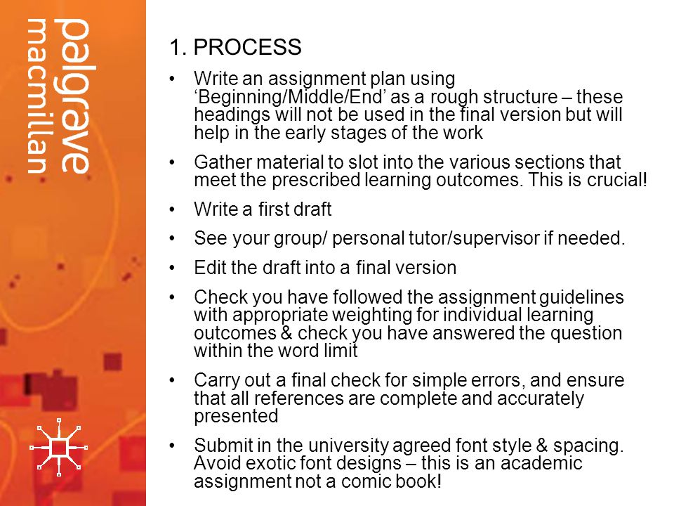 1. PROCESS Write an assignment plan using Beginning/Middle/End as a rough structure – these headings will not be used in the final version but will he