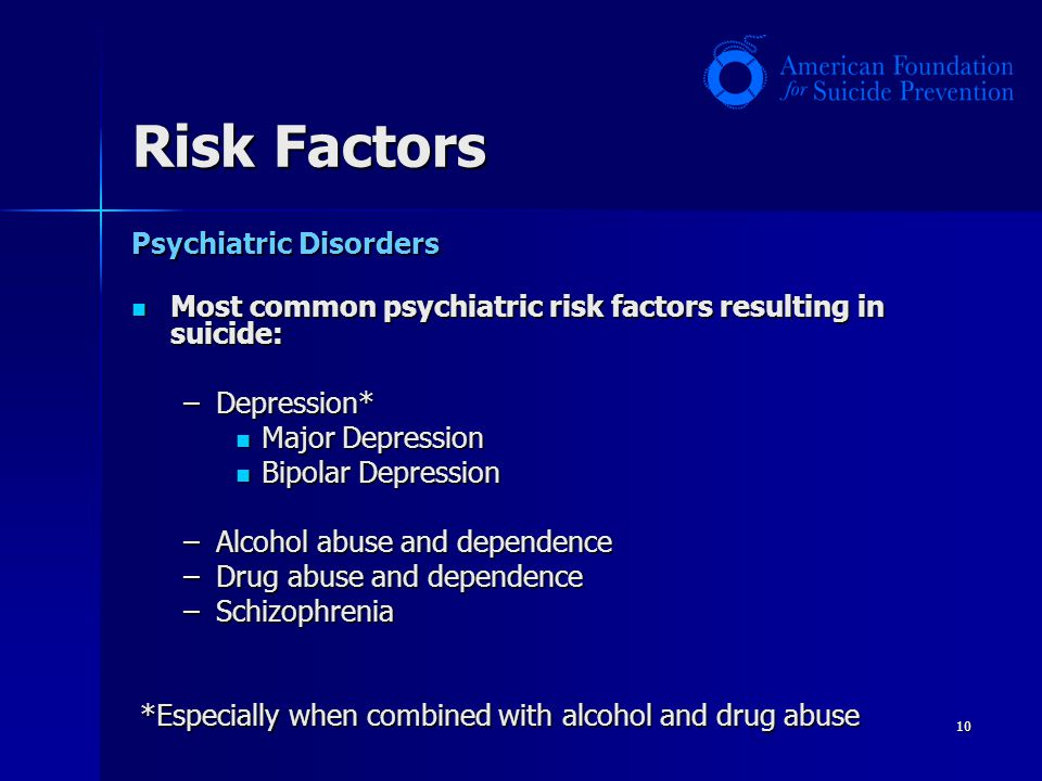 10 Risk Factors Psychiatric Disorders Most common psychiatric risk factors resulting in suicide: Most common psychiatric risk factors resulting in sui