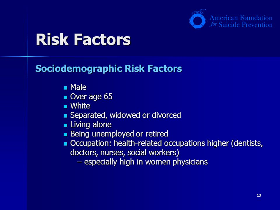 13 Risk Factors Sociodemographic Risk Factors Male Male Over age 65 Over age 65 White White Separated, widowed or divorced Separated, widowed or divor