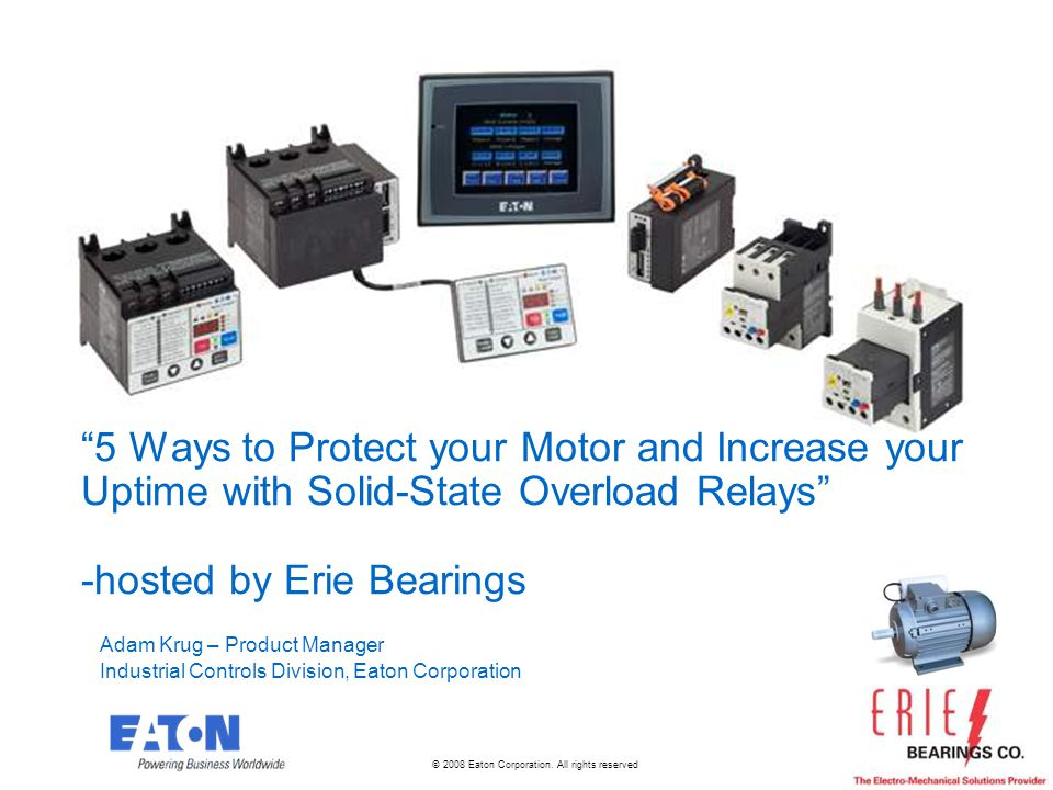 2 2 Training Goals Understanding of basic motor protection then and now 5 Ways to Protect Your Motor Leveraging additional capabilities from electronic relays beyond simple thermal protection to protect motors Protecting your Utility bill Getting onboard the energy monitoring trend with today s relays Protecting your load/pump Seeing beyond the motor to the actual load with no additional hardware