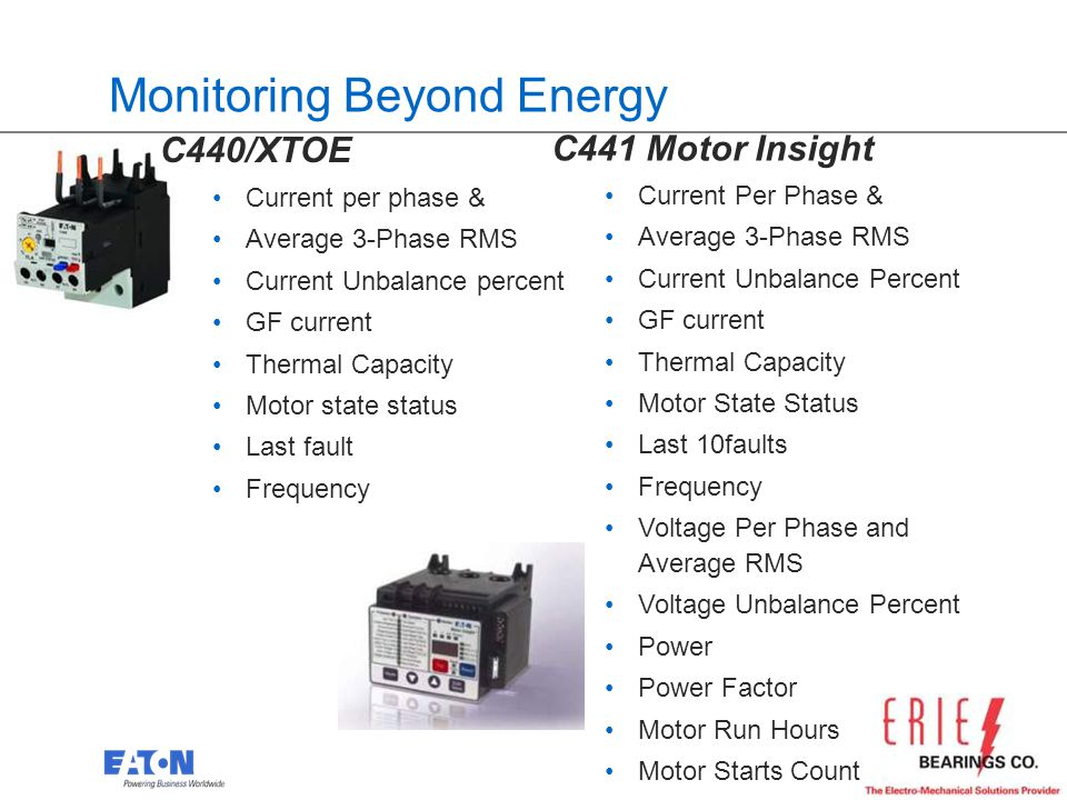 21 Monitoring Beyond Energy C440/XTOE Current per phase & Average 3-Phase RMS Current Unbalance percent GF current Thermal Capacity Motor state status