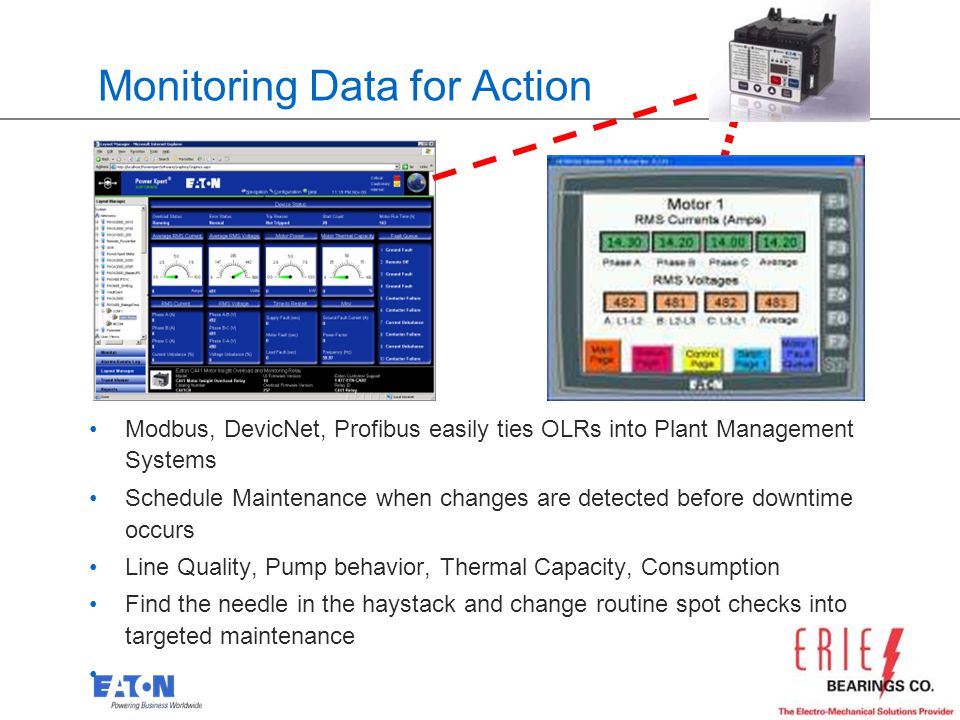 23 Monitoring Data for Action Modbus, DevicNet, Profibus easily ties OLRs into Plant Management Systems Schedule Maintenance when changes are detected