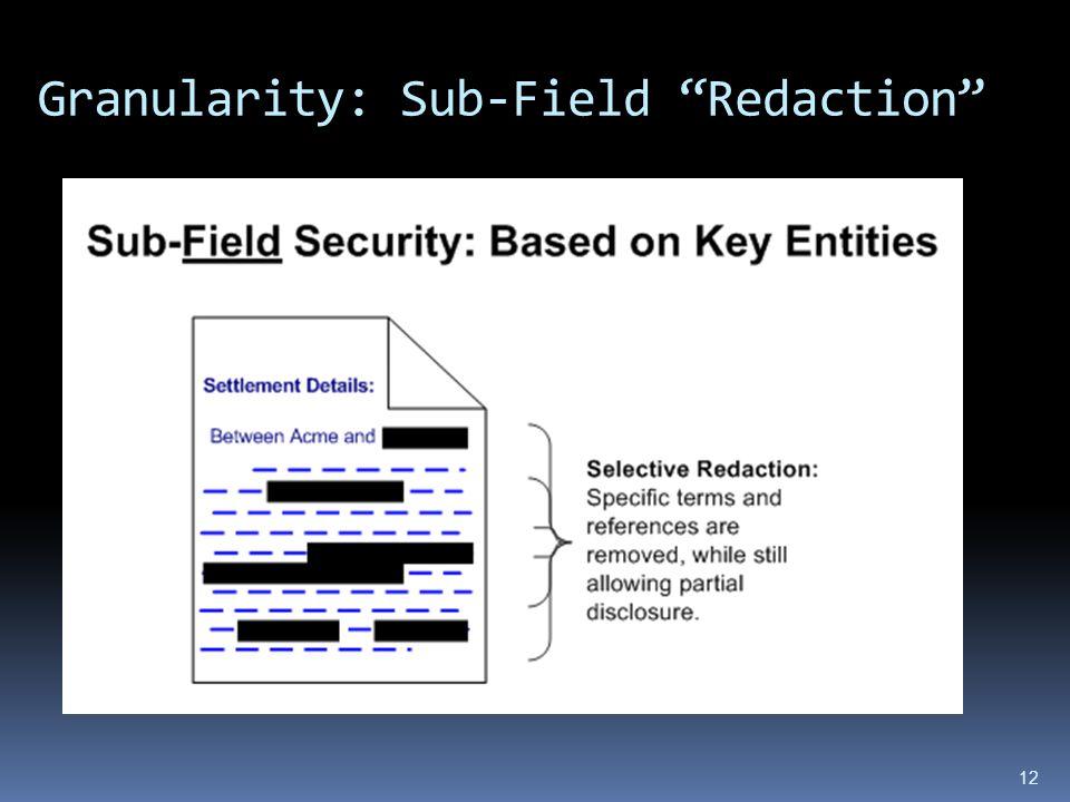 Granularity: Sub-Field Redaction 12