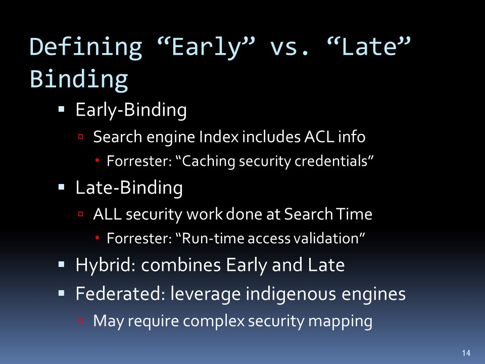 Defining Early vs.