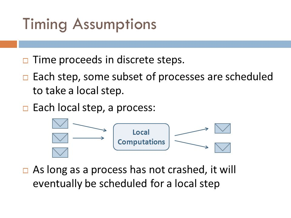 Timing Assumptions Time proceeds in discrete steps.