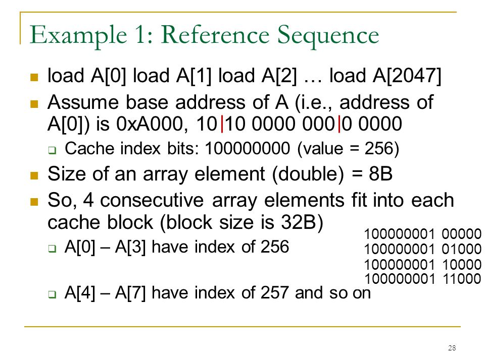 28 Example 1: Reference Sequence load A[0] load A[1] load A[2] … load A[2047] Assume base address of A (i.e., address of A[0]) is 0xA000, 10 10 0000 0