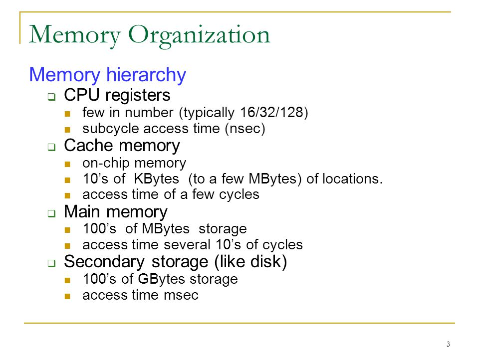 4 Cache Memory; Memory Hierarchy Recall: In discussing pipeline, we assumed that memory latency will be hidden so that it appears to operate at processor speed Cache Memory: HW that makes this happen Design principle: Locality of Reference Temporal locality: least recently used objects are least likely to be referenced in the near future Spatial locality: neighbours of recently reference locations are likely to be referenced in the near future