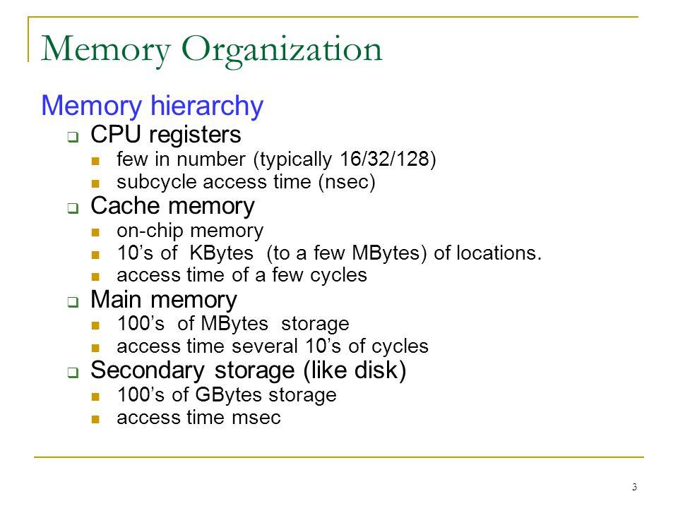 24 Memory Hierarchy Cache Main (Primary) Memory Secondary Memory Level 2 Cache Level 1 Cache L3, L4… Cache