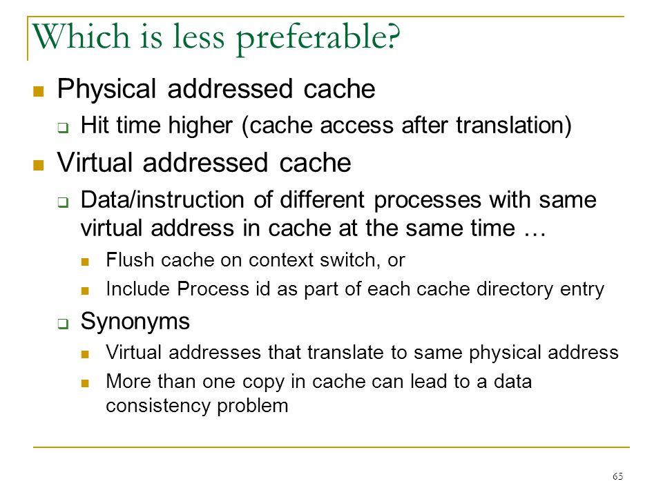 65 Which is less preferable? Physical addressed cache Hit time higher (cache access after translation) Virtual addressed cache Data/instruction of dif
