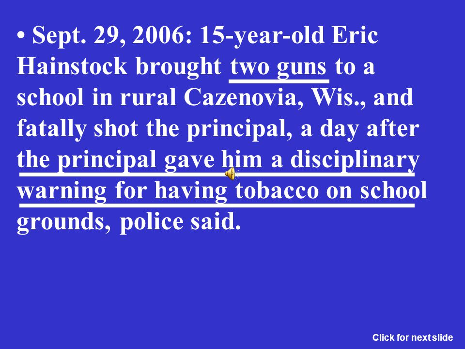 May 19, 1998: Three days before his graduation, an honor student at a high school in Fayetteville, Tenn., killed a classmate who was dating his ex-gir