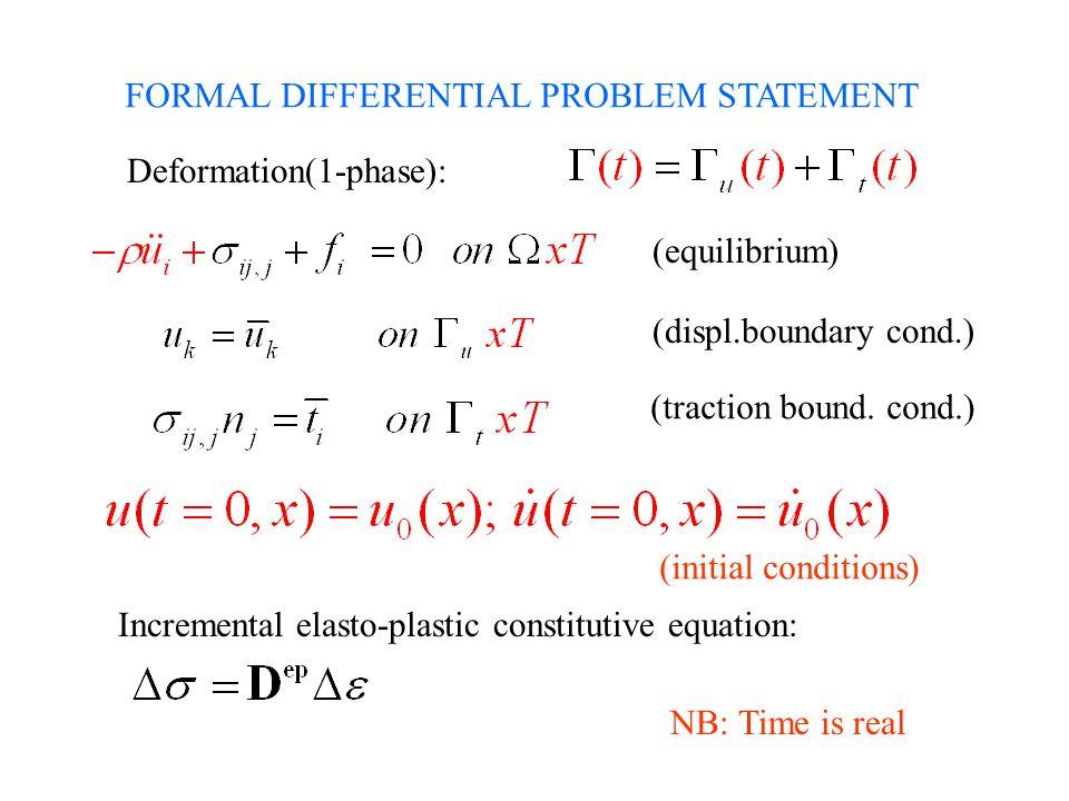 FORMAL DIFFERENTIAL PROBLEM STATEMENT Deformation(1-phase): Incremental elasto-plastic constitutive equation: (equilibrium) (displ.boundary cond.) (tr