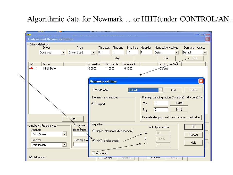 Algorithmic data for Newmark …or HHT(under CONTROL/AN..