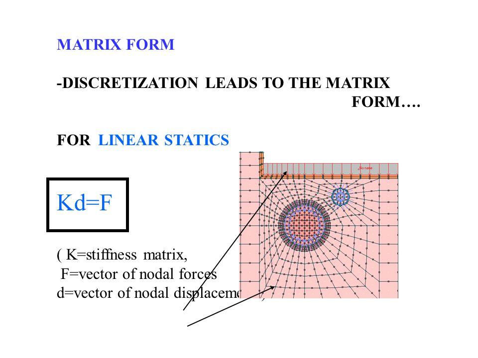 MATRIX FORM -DISCRETIZATION LEADS TO THE MATRIX FORM…. FOR LINEAR STATICS Kd=F ( K=stiffness matrix, F=vector of nodal forces d=vector of nodal displa