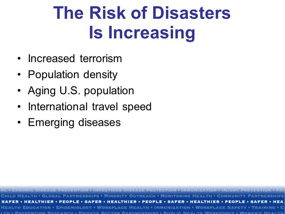 The Risk of Disasters Is Increasing Increased terrorism Population density Aging U.S.