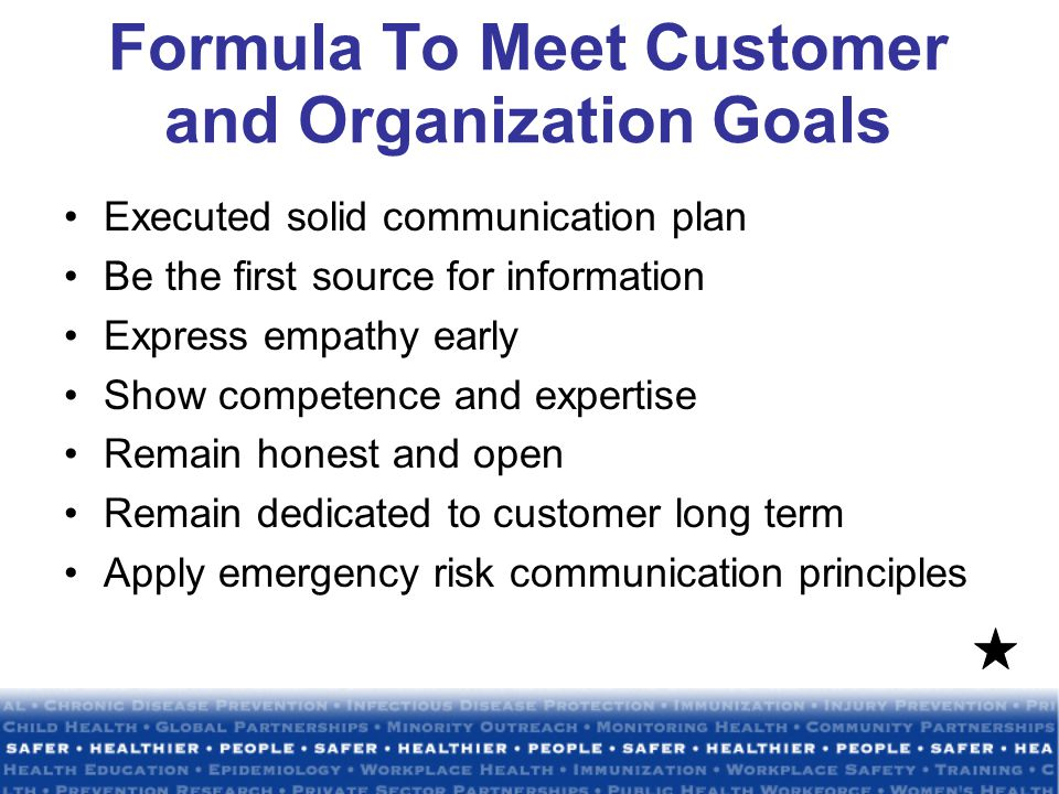 Formula To Meet Customer and Organization Goals Executed solid communication plan Be the first source for information Express empathy early Show competence and expertise Remain honest and open Remain dedicated to customer long term Apply emergency risk communication principles