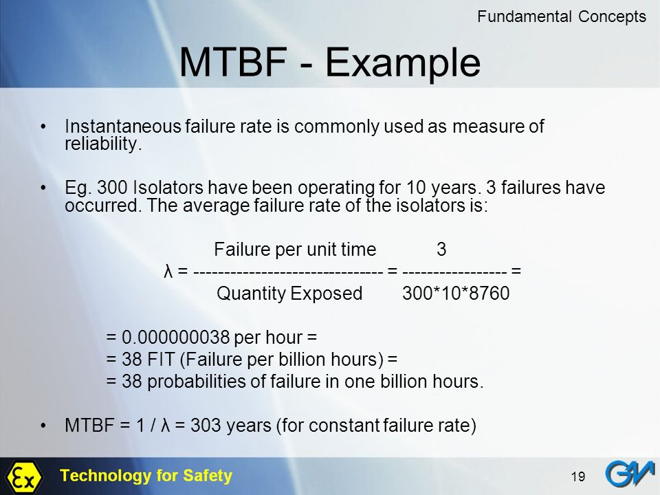 19 MTBF - Example Instantaneous failure rate is commonly used as measure of reliability. Eg. 300 Isolators have been operating for 10 years. 3 failure