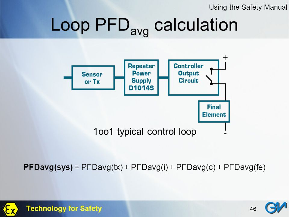 46 Loop PFD avg calculation 1oo1 typical control loop PFDavg(sys) = PFDavg(tx) + PFDavg(i) + PFDavg(c) + PFDavg(fe) Using the Safety Manual
