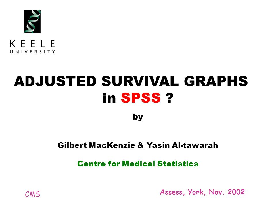 CMS Assess, York, Nov. 2002 ADJUSTED SURVIVAL GRAPHS in SPSS .