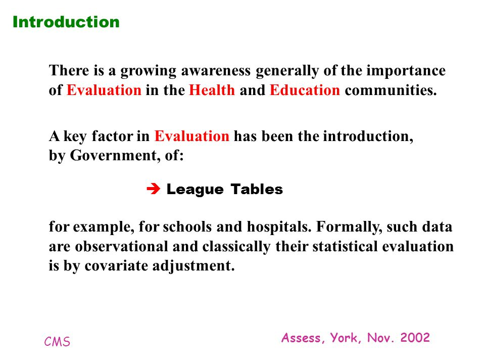 CMS Assess, York, Nov. 2002 Introduction There is a growing awareness generally of the importance of Evaluation in the Health and Education communitie