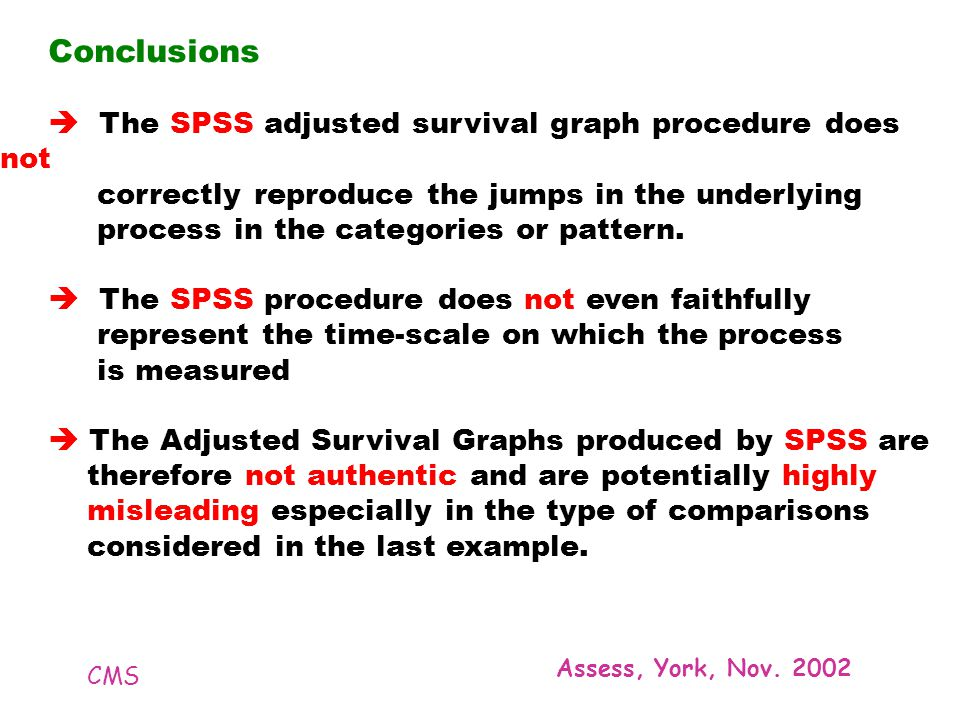 CMS Assess, York, Nov. 2002 Conclusions The SPSS adjusted survival graph procedure does not correctly reproduce the jumps in the underlying process in