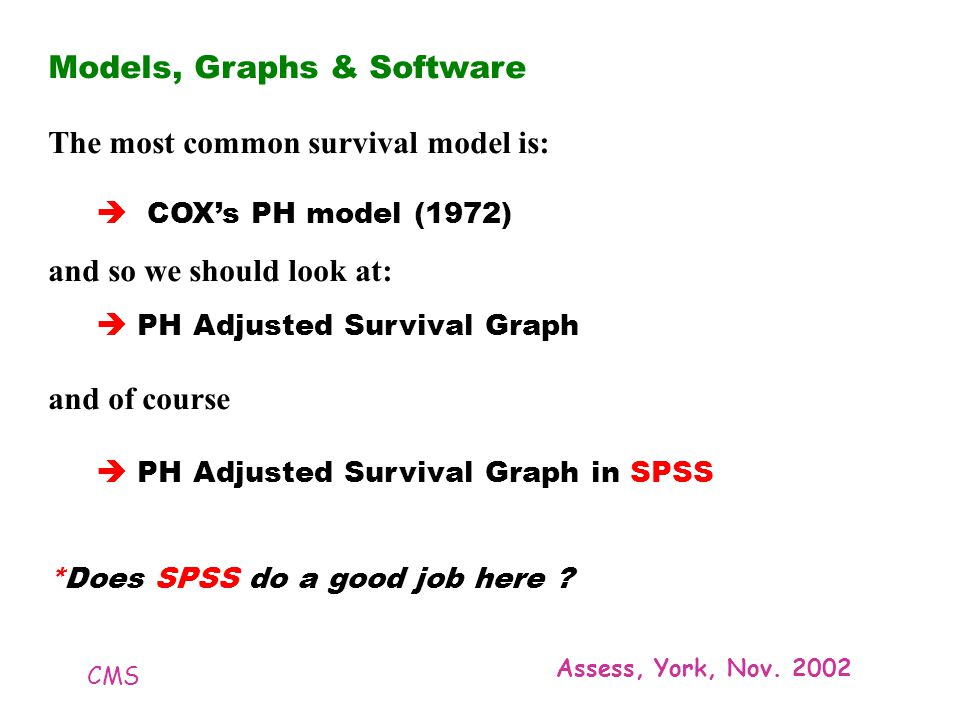CMS Assess, York, Nov. 2002 Models, Graphs & Software The most common survival model is: COXs PH model (1972) and so we should look at: PH Adjusted Su