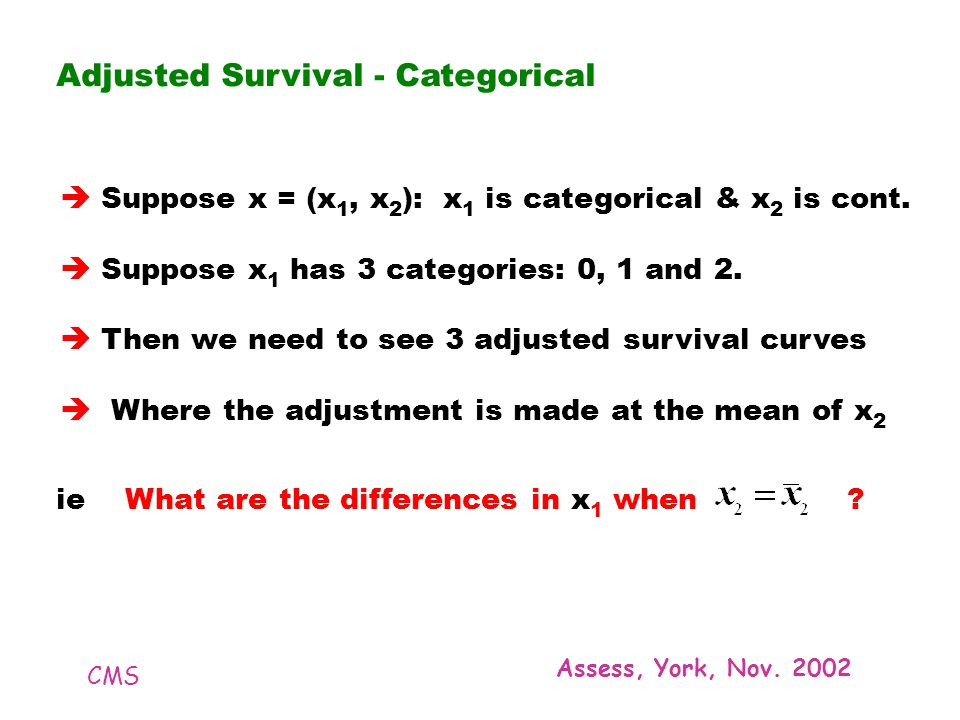 CMS Assess, York, Nov. 2002 Adjusted Survival - Categorical Suppose x = (x 1, x 2 ): x 1 is categorical & x 2 is cont. Suppose x 1 has 3 categories: 0
